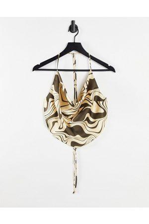ASOS 90s satin scarf double tie halter in brown swirl print