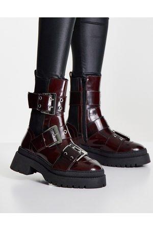 ASOS Angela premium leather biker boots in burgundy