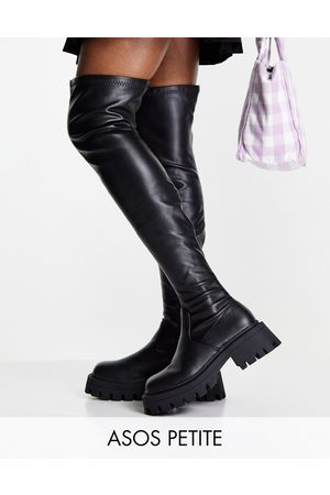 ASOS Petite Kassidy chunky square toe over the knee boots in black