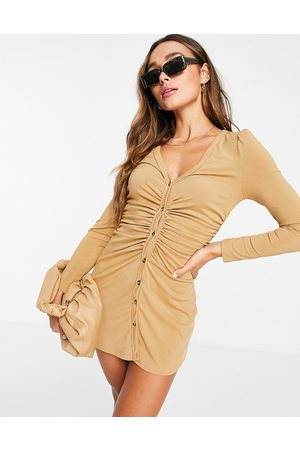 Unique 21 Ribbed ruched front mini dress in sand