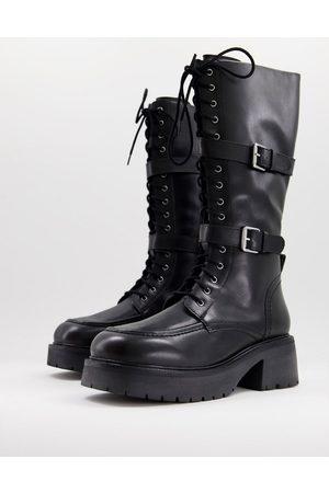 ASOS Camden premium leather knee boots in black