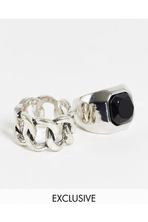 Reclaimed Inspired chunky chain and black stone rings 2 pack in silver
