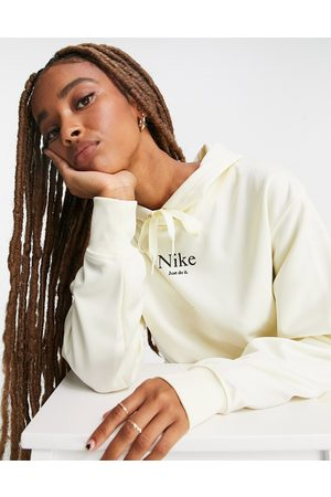 Nike Oversized hoodie in off white with drawcord