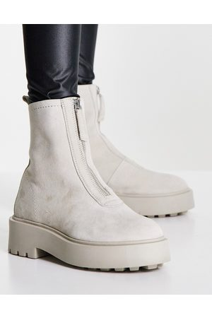 ASOS Ava leather front zip boots in taupe suede