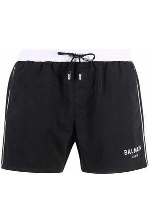 Balmain Hombre Shorts - Shorts de playa con pretina en contraste