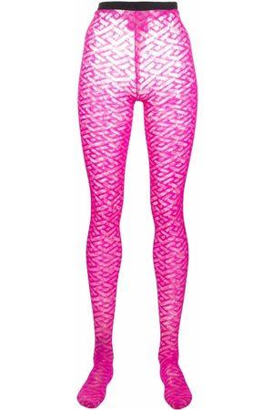 Versace Monogram sheer tights