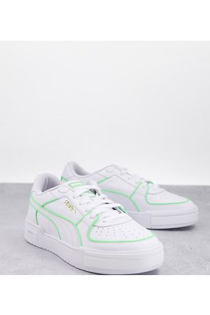 Puma CA Pro neon pipe trainers in white and green exclusive to ASOS