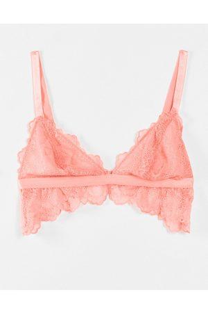 ASOS DESIGN Fuller Bust Rosie lace longline padded bra in coral