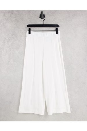 Monki Cilla ribbed trousers in white