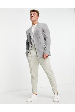 ASOS DESIGN Hombre Sacos - Skinny double breasted suit jacket in mid grey