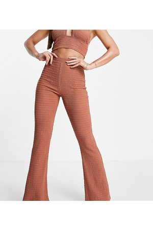 ASOS Tall ASOS DESIGN tall textured flare beach trouser co ord in mink
