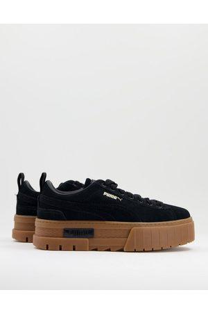 PUMA Mayze platform trainers in black with gum sole