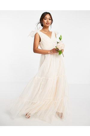 ASOS Tulle bow tie tiered maxi dress in champagne