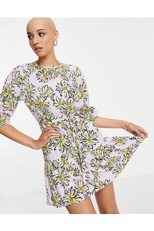 Influence Tie waist mini dress in yellow floral print