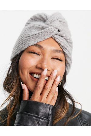 ASOS DESIGN Twist front knitted beanie in grey