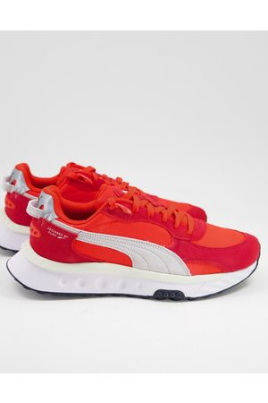 Puma Wild Rider trainers in red and white