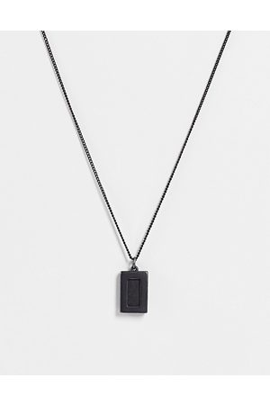 ASOS DESIGN Skinny 1mm neckchain with black agate pendant in matte black
