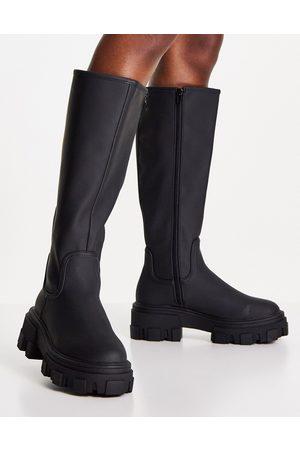 ASOS DESIGN Carla chunky flat boots in black