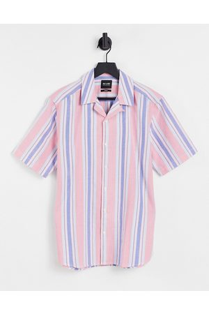 Only & Sons Short sleeve shirt with revere collar in pink stripe