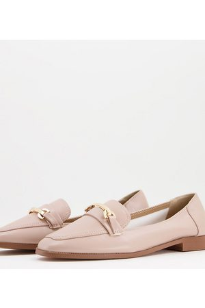 ASOS DESIGN Wide Fit Verity loafer flat shoes with trim in blush