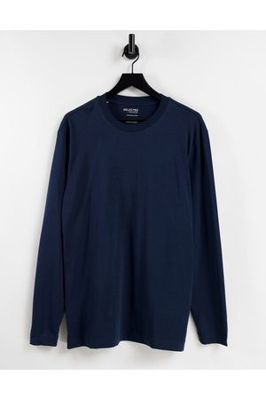 Selected Homme Oversize long sleeve top in navy