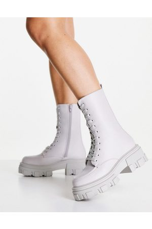 ASOS DESIGN Acoustic chunky lace up boots in grey