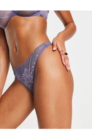 Gossard Glossies lace sheer thong in lilac