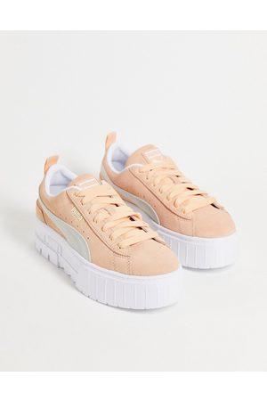 Puma Mayze platform trainers in peach and white