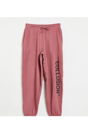 Collusion Unisex organic cotton logo joggers in dusty pink