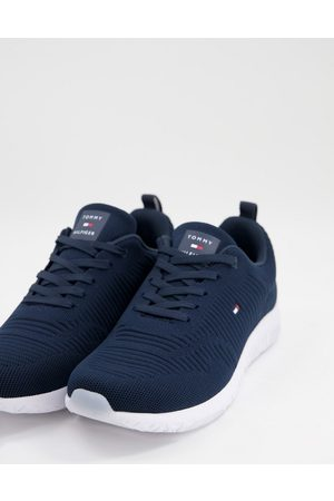 Tommy Hilfiger Knit runner trainer with small flag logo in navy