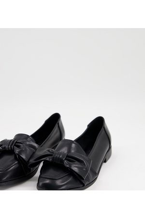 ASOS DESIGN Wide Fit Mentor bow flat shoes in black