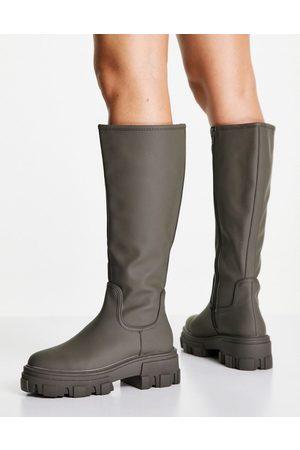 ASOS DESIGN Carla chunky flat boots in khaki