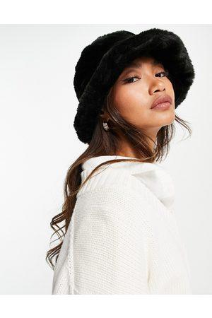 ASOS DESIGN Faux fur roll back bucket hat in black