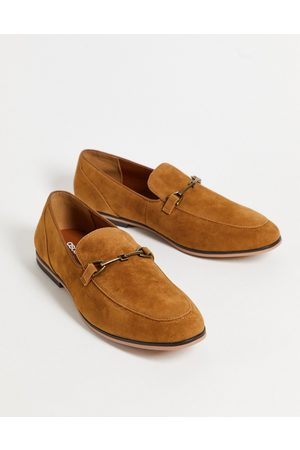 ASOS DESIGN Loafers in tan faux suede with snaffle detail