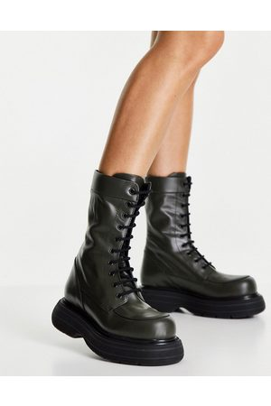 ASOS DESIGN Alicia premium leather chunky lace up boots in khaki