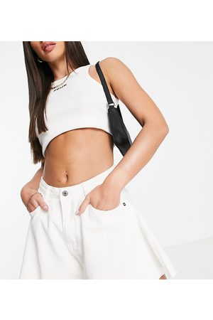 Missguided Tall Denim mom shorts with raw hem in white