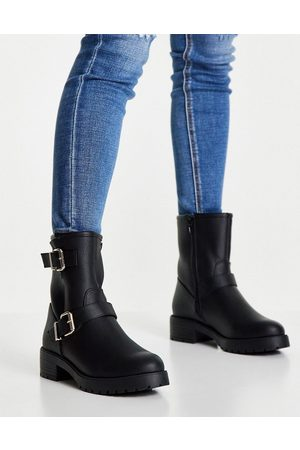 ASOS Amber pull on hiker boots in black
