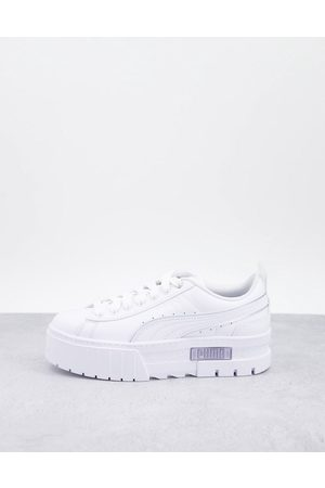 Puma Mayze platform trainers in white and silver