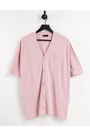ASOS DESIGN Oversized short sleeve jersey shirt in pique in washed pink
