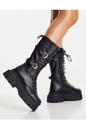 ASOS DESIGN Cosmic premium leather chunky lace up knee boots in black