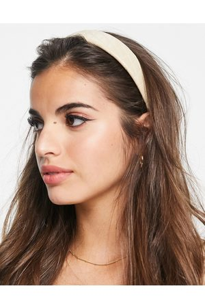 My Accessories Quilted headband in camel PU