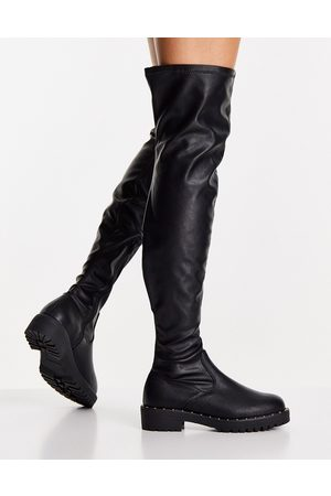ASOS DESIGN Kally flat over the knee boots in black