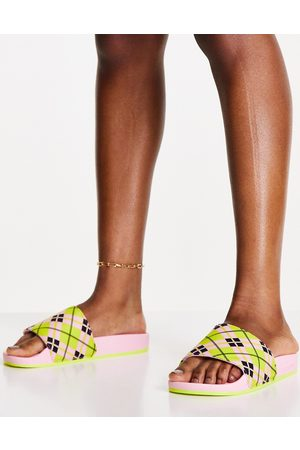 adidas Adilette terry towelling sliders in pink with plaid print