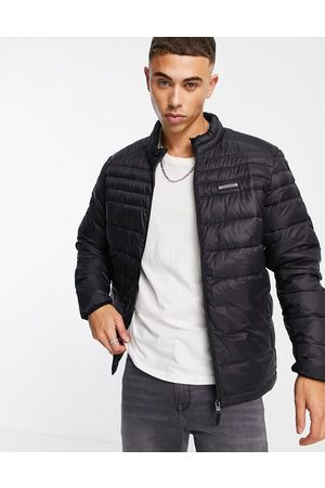 jack & jones Essentials padded jacket with stand collar in black