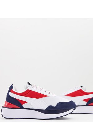 Puma Cruise Rider repeat cat trainers in white red and blue