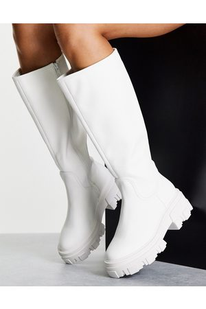 ASOS Carla chunky flat boots in white