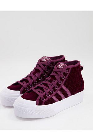 adidas Originals Nizza mid platform trainers in crimson velvet