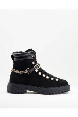 ASOS Arabelle chain trim hiker boots in black