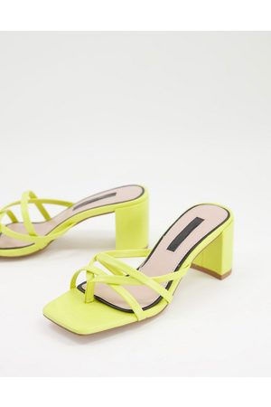 Miss Selfridge Sass strappy mule in yellow