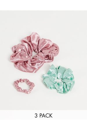 My Accessories X3 pack mixed scrunchies in pink and sage